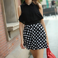 Chiffon One-piece Dress, different size for choice & false two piece, printed, dot, more colors for choice, Sold By PC