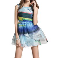 Organza One-piece Dress printed landscape blue Sold By PC
