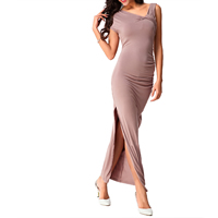Cotton Long Evening Dress backless ankle-length Solid coffee Sold By PC