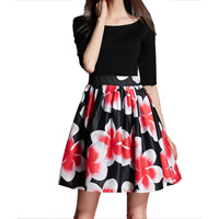 Organza & Knitted One-piece Dress, different size for choice, printed, floral, black, Sold By PC