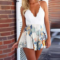 Polyester Women Romper backless with Lace printed floral Sold By PC