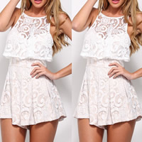 Polyester Women Romper off shoulder & hollow with Lace patchwork Sold By PC