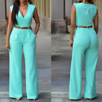 Milk Silk High Waist Long Jumpsuit with belt & skinny Solid Sold By PC