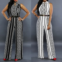 Milk Silk Middle Waist Long Jumpsuit with belt & skinny printed geometric Sold By PC