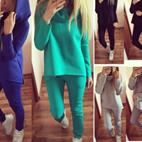 Cotton Women Casual Set breathable sweatshirts   Pants Solid Sold By Set