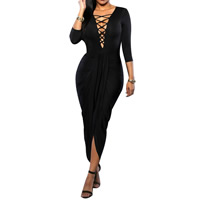Milk Silk Lace Up Sexy Package Hip Dresses, different size for choice & short front long back, Solid, more colors for choice, Sold By PC