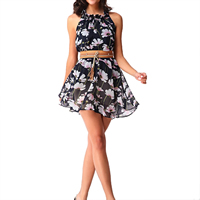 Chiffon Halter Dress, different size for choice & with belt, printed, floral, deep blue, Sold By PC