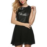 Chiffon One-piece Dress with PU patchwork