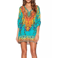 Polyester One-piece Dress printed geometric turquoise blue Sold By PC
