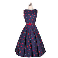 Polyester One-piece Dress printed fruit pattern deep blue Sold By PC