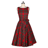 Cotton One-piece Dress printed plaid red Sold By PC