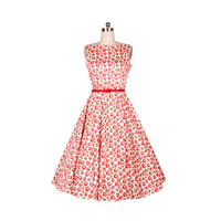 Polyester & Cotton One-piece Dress printed fruit pattern red Sold By PC