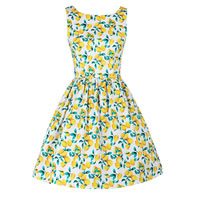 Polyester & Cotton One-piece Dress, different size for choice, printed, fruit pattern, yellow, Sold By PC