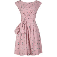 Polyester One-piece Dress printed character pattern red