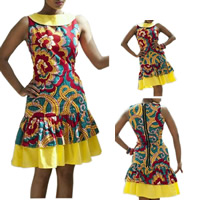 Rayon One-piece Dress, different size for choice, printed, floral, yellow, Sold By PC