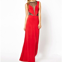 Polyester Long Evening Dress backless floor-length & transparent with Gauze patchwork red Sold By PC
