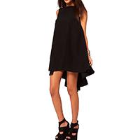 Chiffon One-piece Dress short front long back Solid black