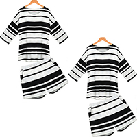 Polyester Plus Size Women Casual Set short   short sleeve T-shirts striped Sold By PC