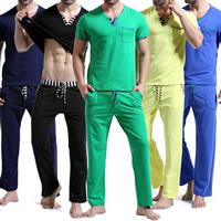 Cotton Men Casual Set loose   breathable short sleeve T-shirts   Pants patchwork