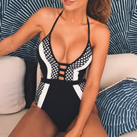 Spandex   Polyester One-piece Swimsuit breathable   padded patchwork black