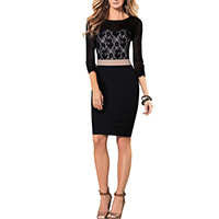 Polyester Sexy Package Hip Dresses, different size for choice & transparent, with Lace, patchwork, black, Sold By PC