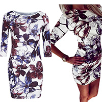 Polyester Sexy Package Hip Dresses, different size for choice, printed, floral, Sold By PC