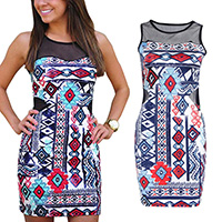 Polyester Sexy Package Hip Dresses, backless & different size for choice & off shoulder & hollow, with Gauze, printed, patchwork, Sold By PC