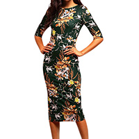 Polyester One-piece Dress, different size for choice, printed, floral, green, Sold By PC