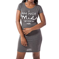 Cotton Sexy Package Hip Dresses, different size for choice & hollow, printed, letter, grey, Sold By PC