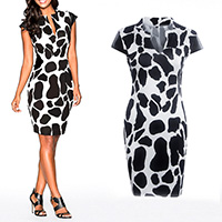 Polyester One-piece Dress, different size for choice, with PU, printed, patchwork, black, Sold By PC