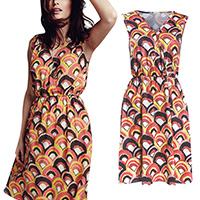 Polyester One-piece Dress, different size for choice, printed, geometric, Sold By PC