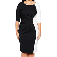 Polyester Plus Size One-piece Dress patchwork white and black
