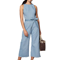 Cotton Long Jumpsuit backless Solid blue Sold By PC