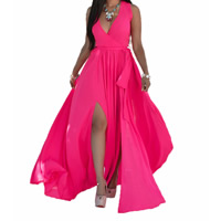 Chiffon One-piece Dress, different size for choice & floor-length, Solid, more colors for choice, Sold By PC