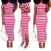 Polyester Crop Top Nightclub Set off shoulder skirt & top striped red Sold By Set