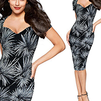 Spandex & Polyester One-piece Dress, different size for choice & knee-length, printed, geometric, black, Sold By PC