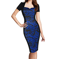 Polyester   Cotton Women Business Dress Suit printed patchwork blue Sold By PC
