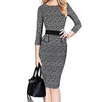 Polyester   Cotton Women Business Dress Suit printed geometric black Sold By PC