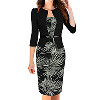 Polyester & Cotton Women Business Dress Suit, different size for choice, printed, patchwork, black, Sold By PC