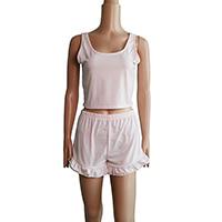 Spandex   Polyester Women Casual Set short   tank top patchwork light pink