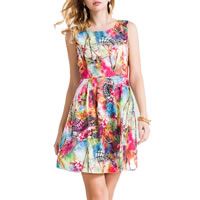 Polyester & Cotton One-piece Dress, different size for choice, printed, geometric, multi-colored, Sold By PC