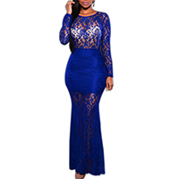 Spandex & Polyester Long Evening Dress backless hollow with Lace embroider patchwork Sold By PC