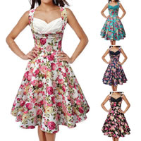 Polyester One-piece Dress printed floral Sold By PC