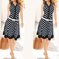 Polyester One-piece Dress, different size for choice, printed, dot, more colors for choice, Sold By PC