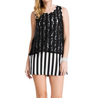 Polyester One-piece Dress, different size for choice, with Lace, printed, striped, black, Sold By PC