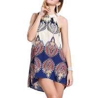 Polyester & Cotton One-piece Dress, different size for choice, printed, geometric, blue, Sold By PC