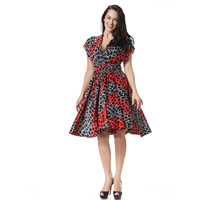 Viscose One-piece Dress, multi-way & backless & different size for choice, printed, geometric, red, Sold By PC