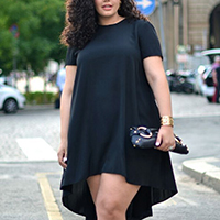 Polyester Plus Size   Asymmetrical One-piece Dress Solid black