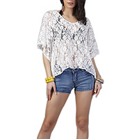 Lace Women Short Sleeve Blouses, hollow, Solid, white, Size:Free Size, Sold By PC