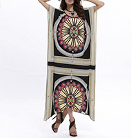 Polyester Asymmetrical One-piece Dress, printed, geometric, Size:Free Size, Sold By PC